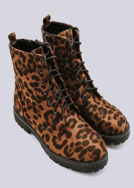 Schnür-Boots in Leo-Print, braun