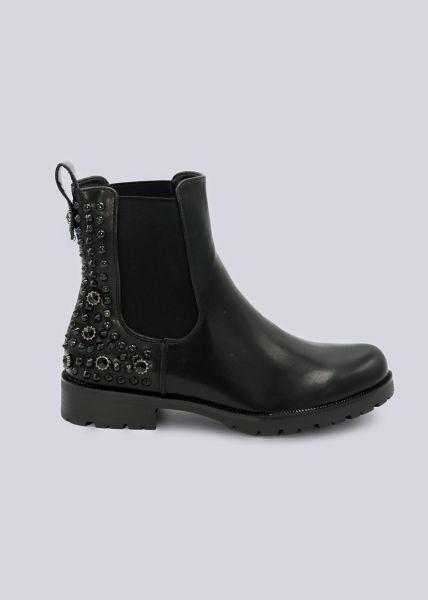 Chelsea-Boots mit Nieten an der Ferse, schwarz