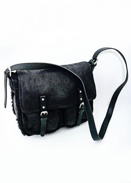 Satchel-Bag mit Fake-Fur, schwarz