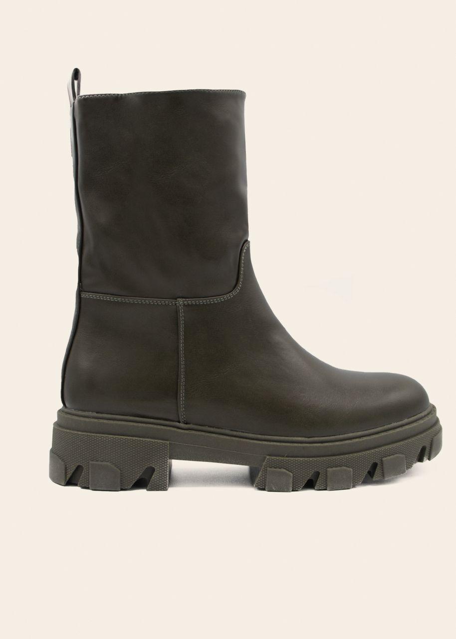 Plateau Boots mit grober Sohle, khaki
