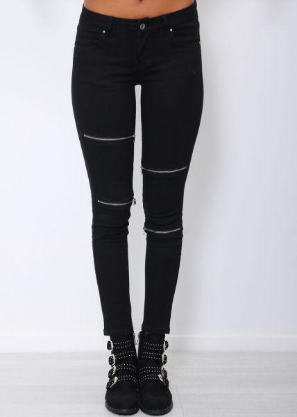 Skinny Jeans mit Reißverschlüssen, schwarz
