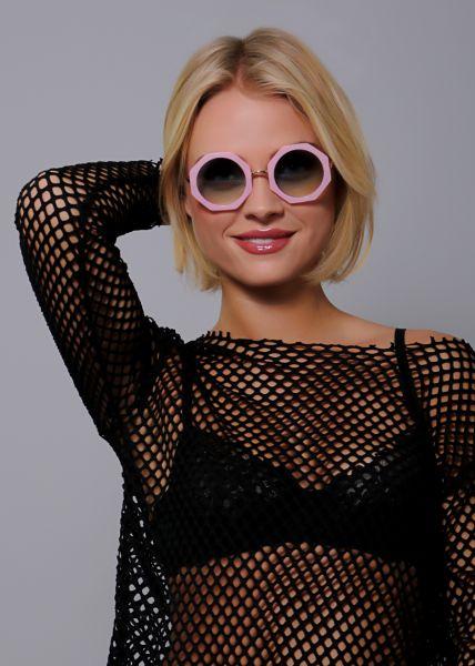 Eckig runde Sonnenbrille, rosa