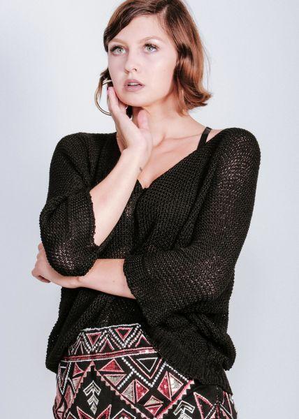 Lässiger Pullover, schwarz