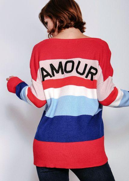 """Pullover """"AMOUR"""" mit bunten Streifen, rot"""