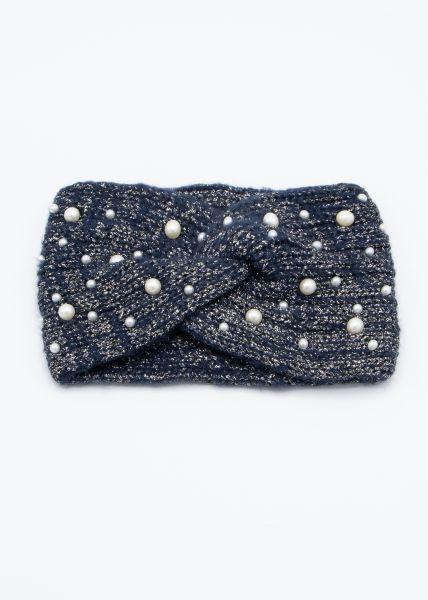 Stirnband mit Perlen, blau