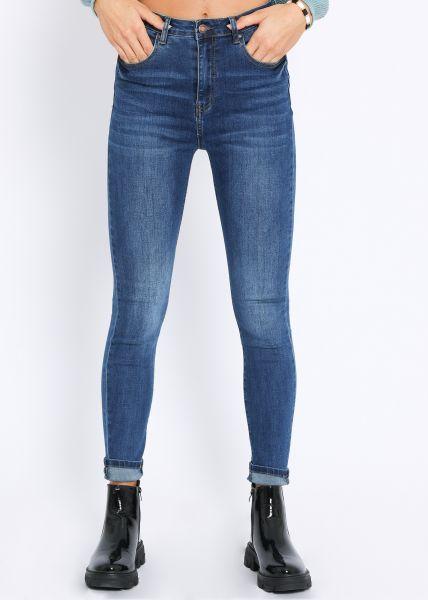Super highwaist Jeans, mittelblau