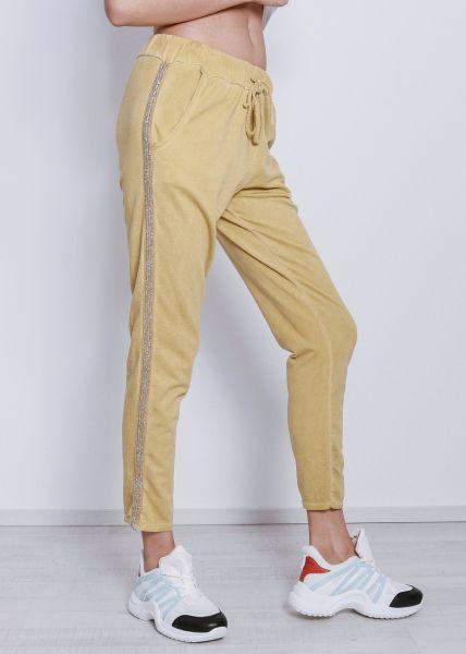 Lounge-Pants mit Glitzerstreifen, gelb