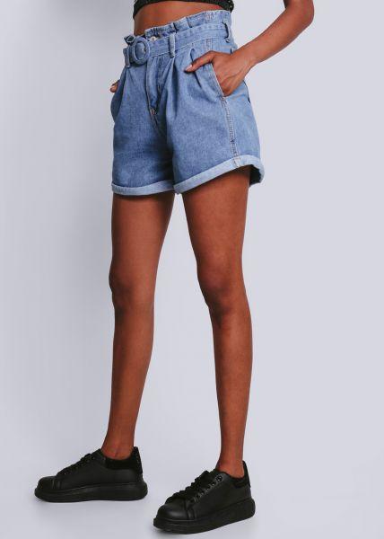 Highwaist Jeansshorts mit Gürtel, blau