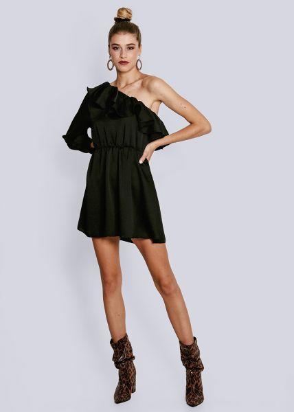 Asymmetrisches Kleid mit Volant, schwarz