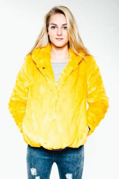 Fake Fur Jacke, gelb