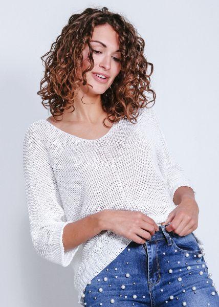 Lässiger Pullover, weiß