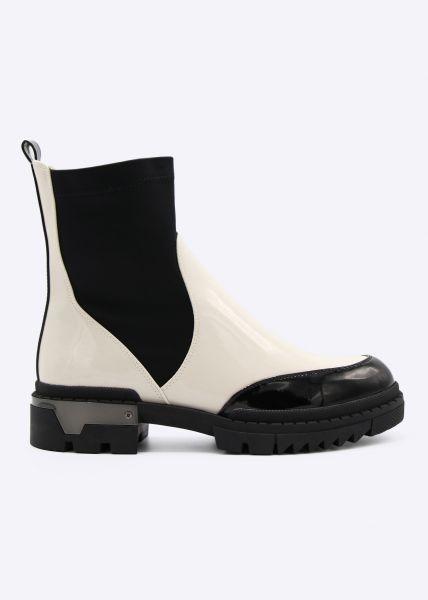Lack Plateau-Boots, schwarz/offwhite