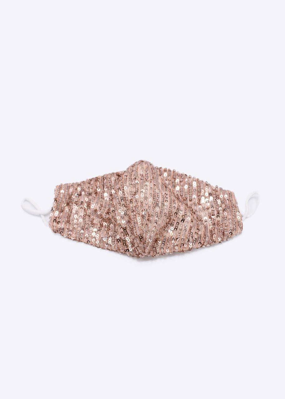 Stoffmaske aus Pailletten, rosa