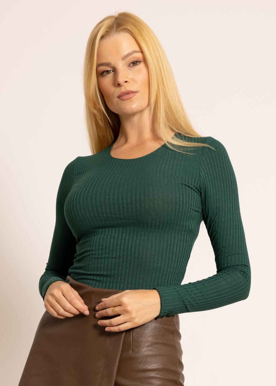 Rippen-Shirt, grün