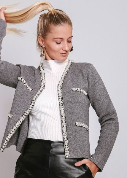 Strickjacke mit Perlenborte, grau