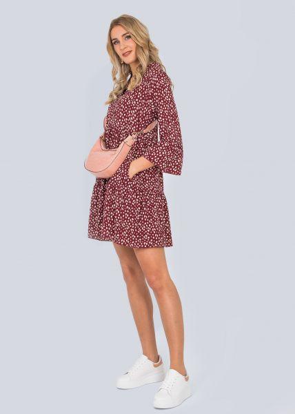 Hängerchenkleid mit Tupfen-Print, weinrot