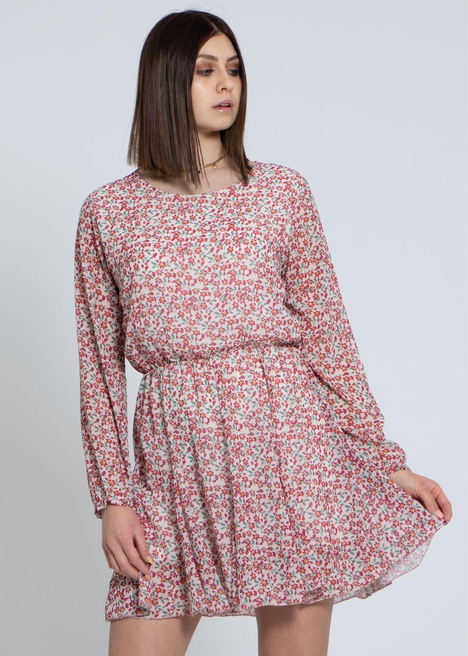 Kleid mit Blumen-Print und weitem Rock, weiß