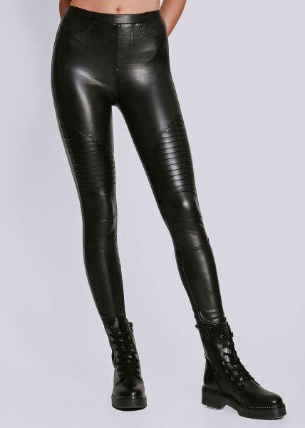 Thermo-Leggings mit Absteppung, schwarz