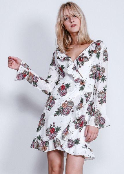 Wickelkleid mit Blumenprint, weiß