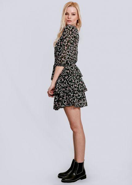 Kleid mit Volantsrock, schwarz