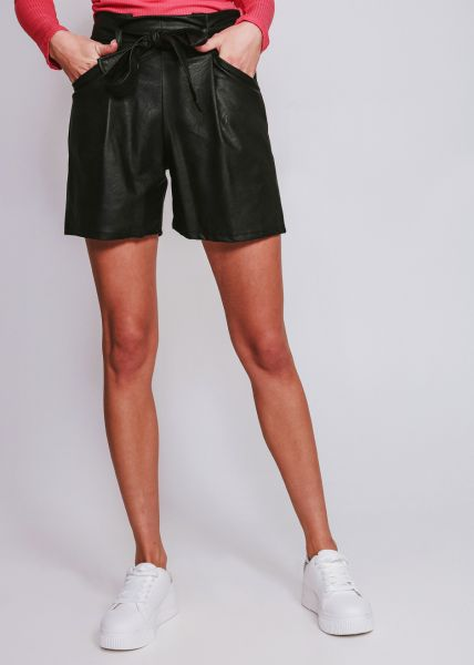 Highwaist Leder-Shorts, schwarz