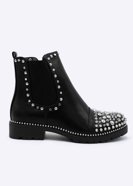 Boots mit silbernen Nieten, schwarz