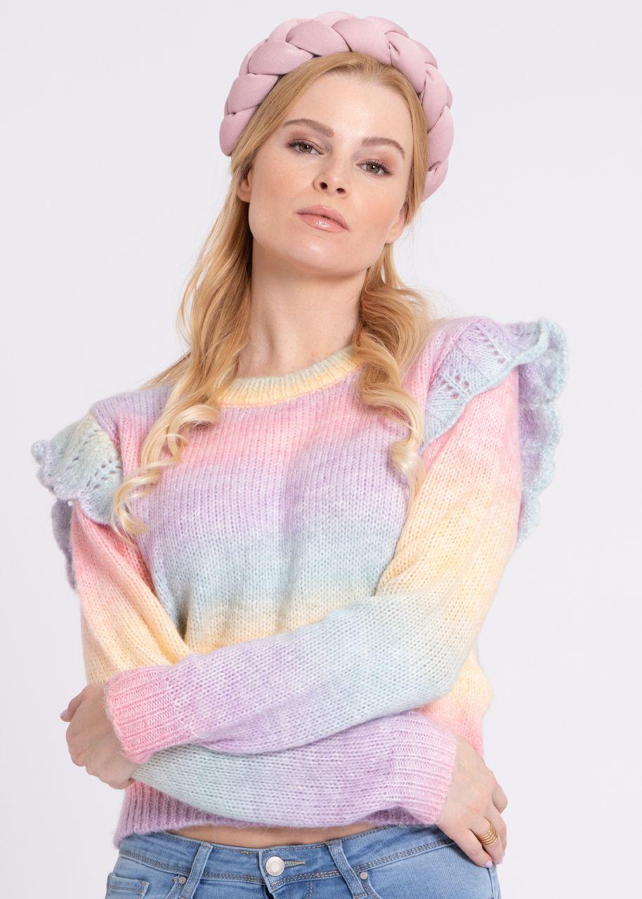 Bunter Pullover mit Rüschen, rosa