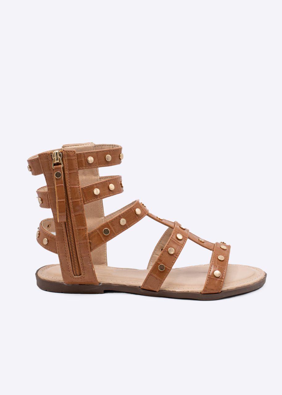 Sandalen mit Nieten, camel