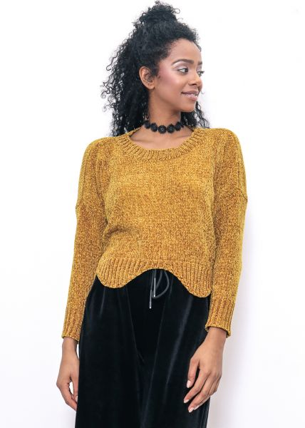 Crop-Pullover aus Chenille, senfgelb