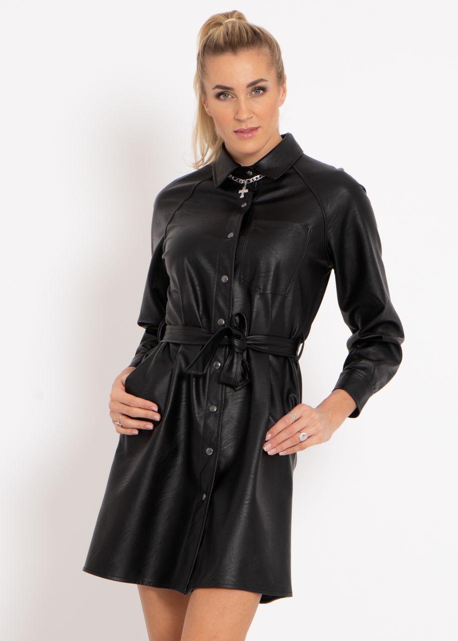 Leder-Kleid, schwarz