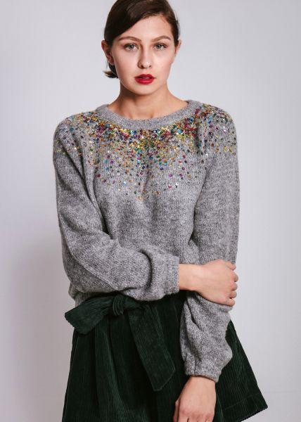 Pullover mit bunten Pailletten, grau