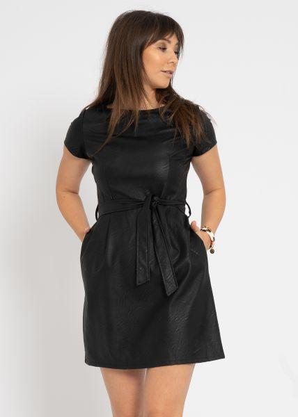 Kurzes Leder-Kleid, schwarz