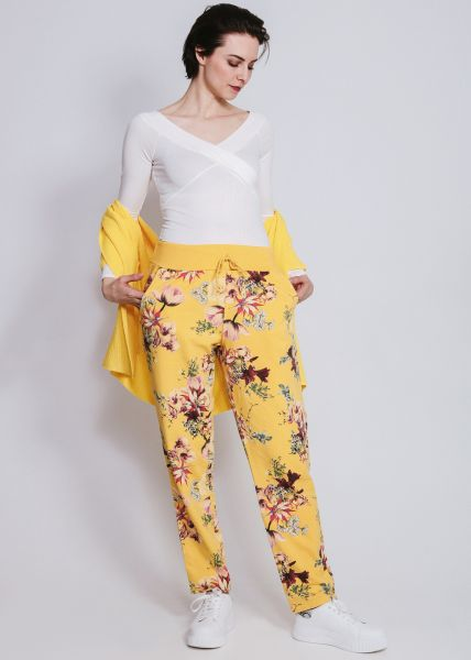 Loungepants mit Blumenmuster, gelb