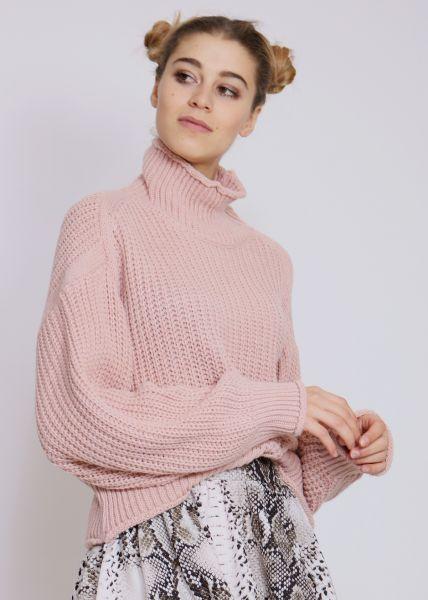 Oversize Rippenpullover, rosa