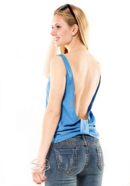 Top mit tiefem Rückenausschnitt, blau