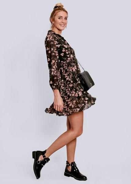 Hängerchenkleid mit Blumen-Print, dunkelgrau