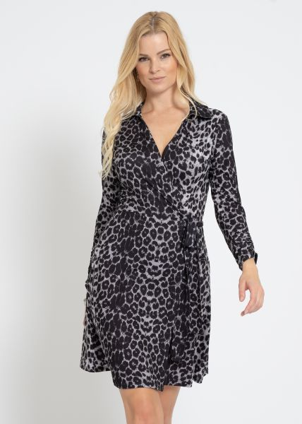 Wickel-Kleid in Leo-Print, grau