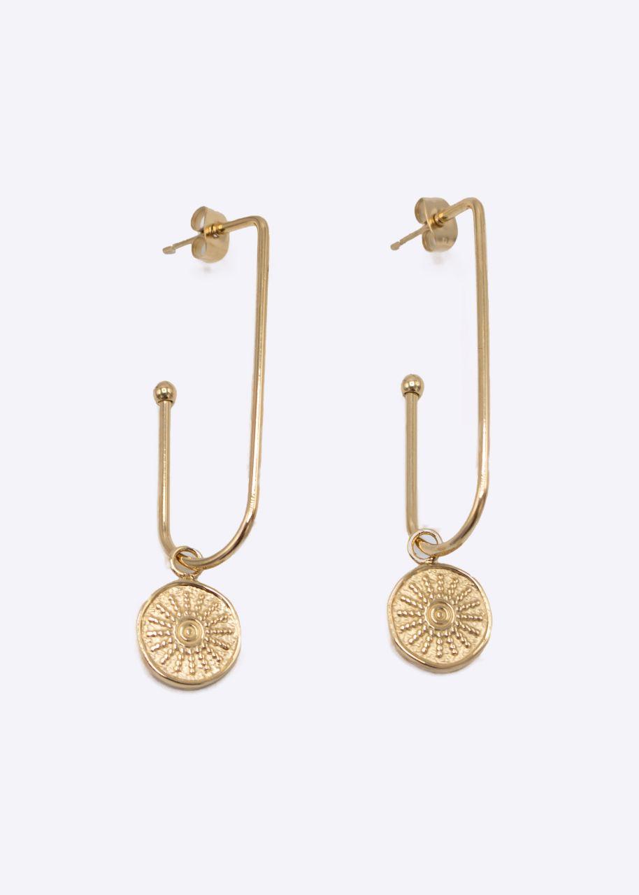 Ovale Creolen mit rundem Anhänger, gold