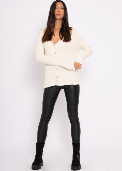 Rippen-Cardigan, offwhite