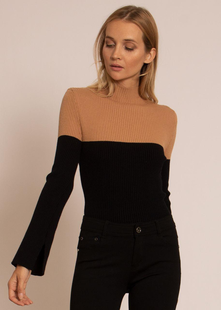 Zweifarbiger Rippen-Pullover, camel/schwarz