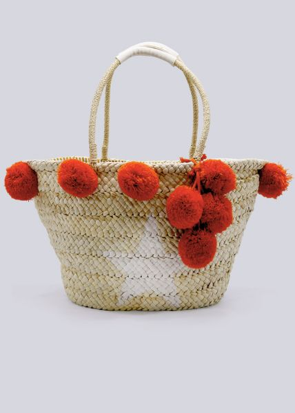 Bast-Tasche mit orange Pompoms, beige