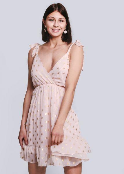 Rückenfreies Chiffon-Kleid mit gold Print, rosa