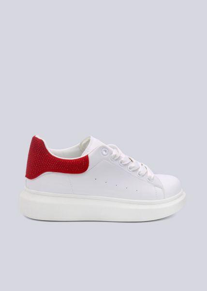 Sneaker mit roter Glitzer-Ferse, weiß