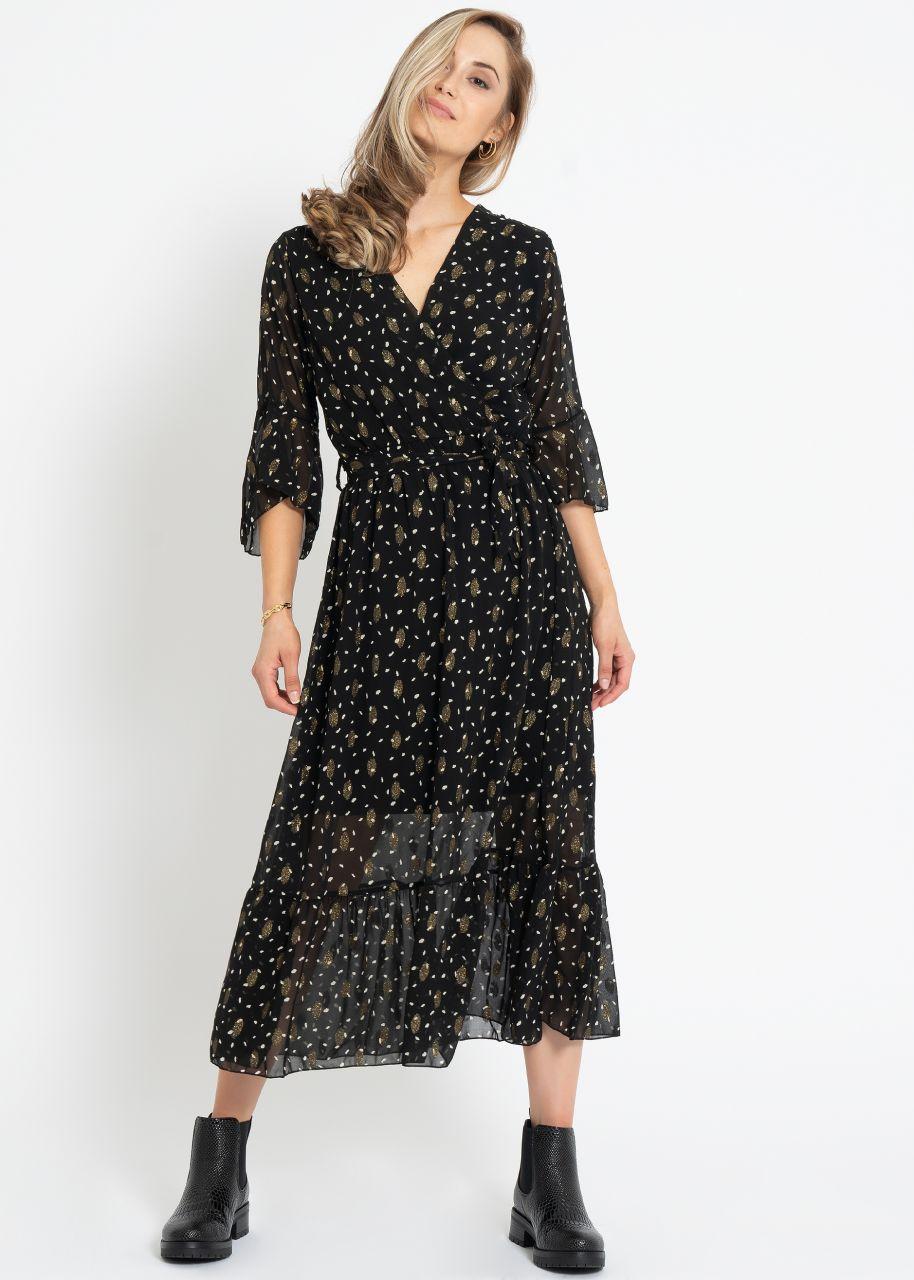 Midi Kleid mit Wickel-Optik und gold Print, schwarz
