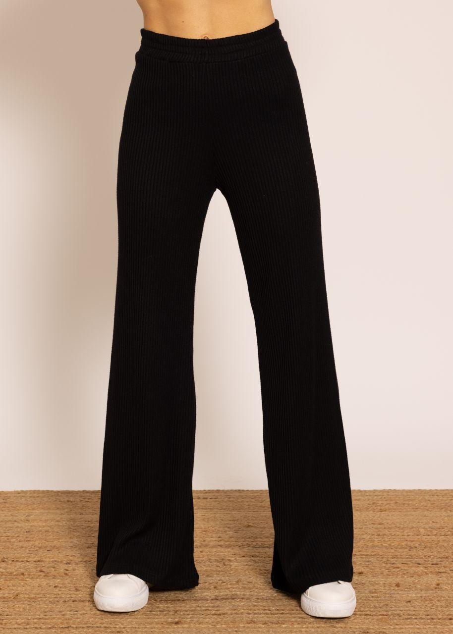 Weite Hose aus Rippenjersey, schwarz