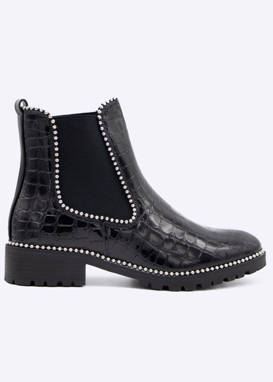 Kroko-Chelsea-Boots mit kleinen Kugelnieten, schwarz