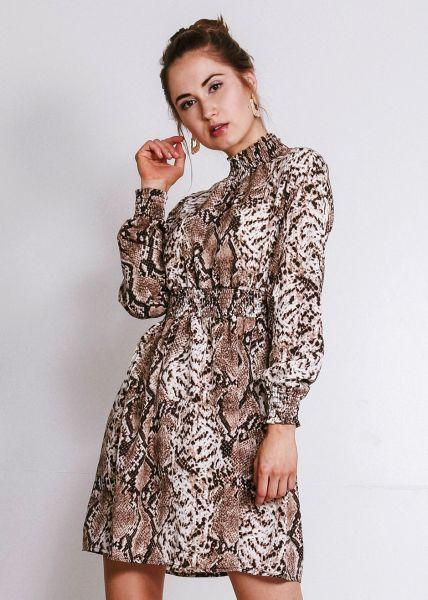 Kleid in Snake-Print, braun