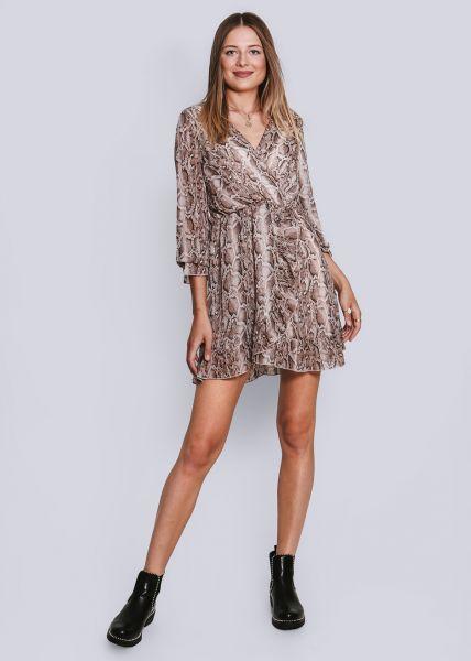 Kleid in Snake-Print, langarm, braun