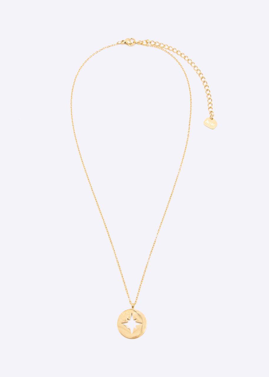 Halskette mit rundem Anhänger, gold
