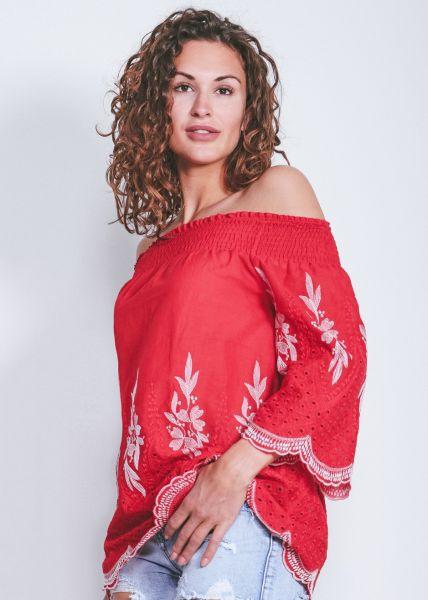 Schulterfreie Tunikabluse, rot